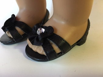Black Sparkle Kitten Heels With Jewel