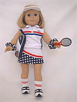 Red, White & Blue Tennis Outfit For American Girl Dolls