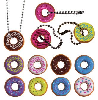 I Love Donuts! 2 PC Set. 1 Keychain & 1 Necklace. Assorted Colors.