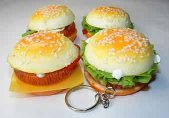 Squishy Hamburger Keychain. Perfect Backpack Charm.