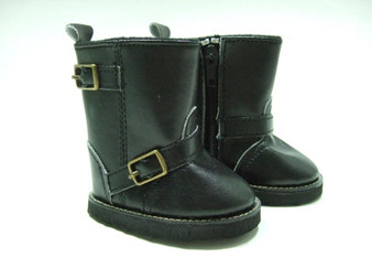 Smooth Black Boots With Buckles For American Girl Dolls