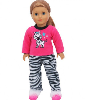 Zebra Fleece Pajamas With Fuzzy Slippers For Your American Girl Doll