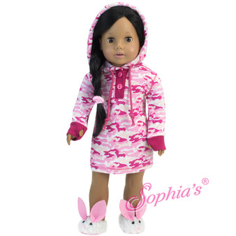 Pink Camoflage Hooded Nightgown For Your American Girl Doll