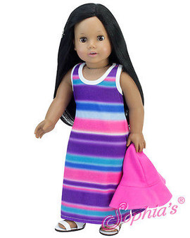 Striped Sun Dress with Hat for American Girl Dolls