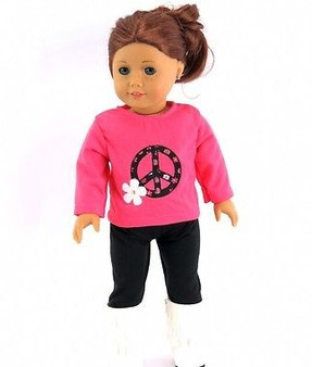 Peace Sign Top with Pants for American Girl Dolls