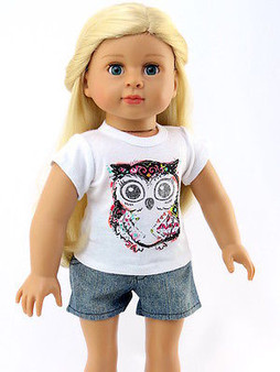 Owl Shirt with Jean Shorts For American Girl Dolls