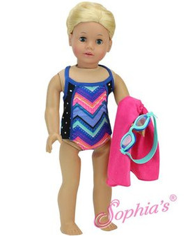 Bathing Suit Set with Goggles & Towel for American Girl Dolls
