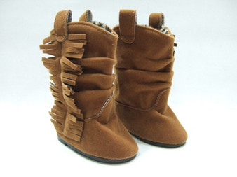 Brown Fringed Slouch Boots