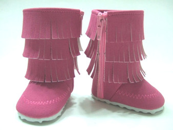 Pink Fringed Boots With White Bottom