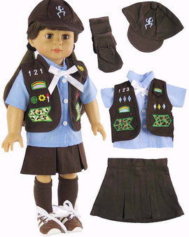 Brownie Scout Uniform for 18 inch American Girl Dolls