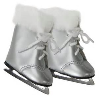 Silver Ice Skates with Fur for 18 inch American Girl Dolls