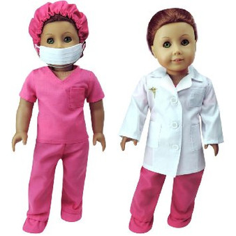 Pink Dr. Scrubs fits 18 inch American Girl Dolls