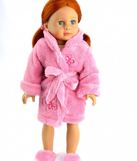 Pink Butterfly Robe With Fuzzy Slippers For Your American Girl Doll