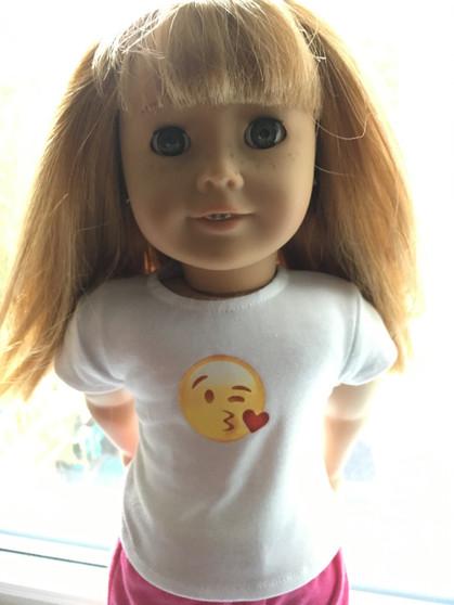Emoji T- Shirt Fits 18 inch American Girl Dolls.