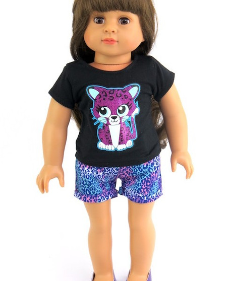 Leopard Shorts Set For American Girl Dolls