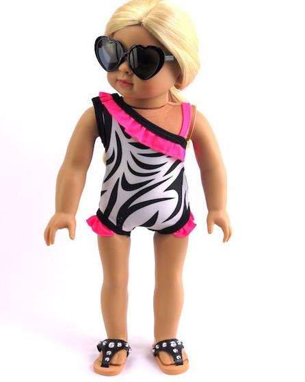 Zebra Swim Suit For American Girl Dolls