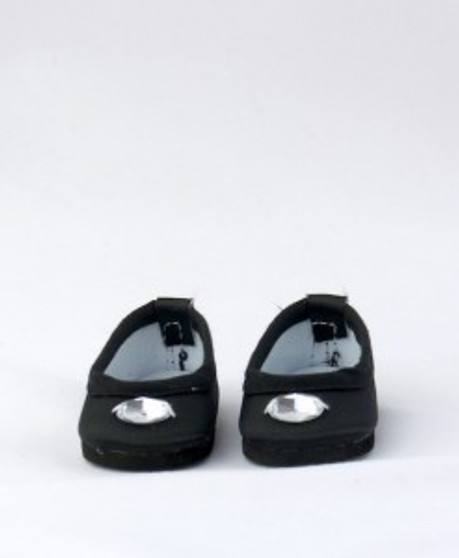 Black Jeweled Shoes For Wellie Wishers