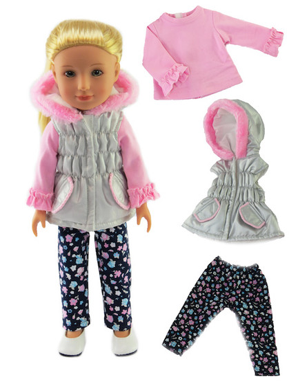 Grey &  Pink Puffer 3 PC Set For Wellies