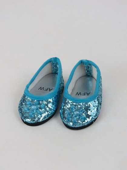 Teal Glitter Flats For American Girl Dolls