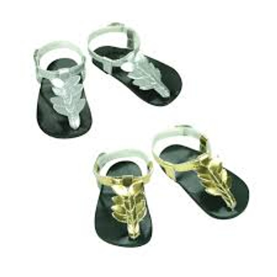 Silver Metallic Thong Sandals For American Girl Dolls