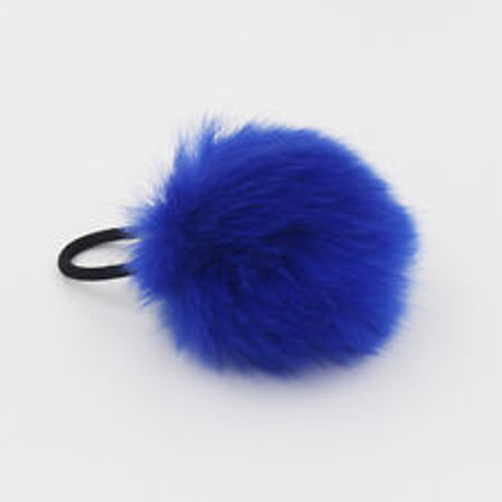 Pink Furry Blue Pom Pom Hair Scrunchie