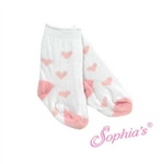 """18"""" White Heart Socks fits American Girl Dolls"""