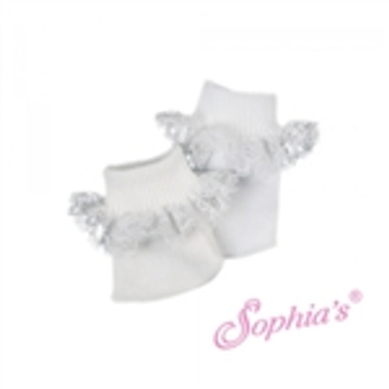 white ankle socks with lace trim