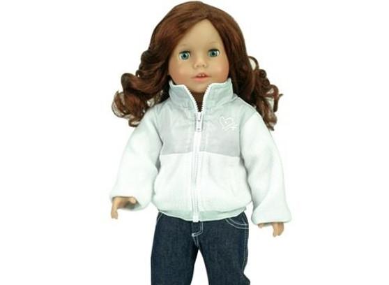 White Nylon & Fleece Jacket for 18 inch American Girl Dolls