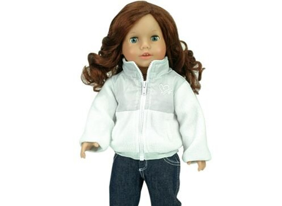 White Nylon & Fleece Jacket for 18 inch American Girl Dolls