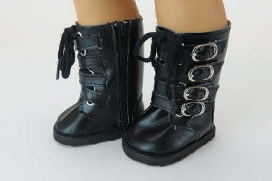 Black Buckle Boots for 18 inch American Girl Dolls