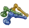 "7"" Assorted Large Colored Hammer Bubbler with Swirls in Assorted Colors"