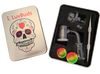 LuvBuds  25MM banger kit comes with 14MM female banger, wax container, vortex carb cap, pearls, and dab tool in a silver Louie Luv Skull tin!