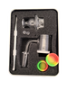 LuvBuds  25MM banger kit comes with 18MM male banger, wax container, vortex carb cap, pearls, and dab tool in a silver Louie Luv Skull tin - up close!