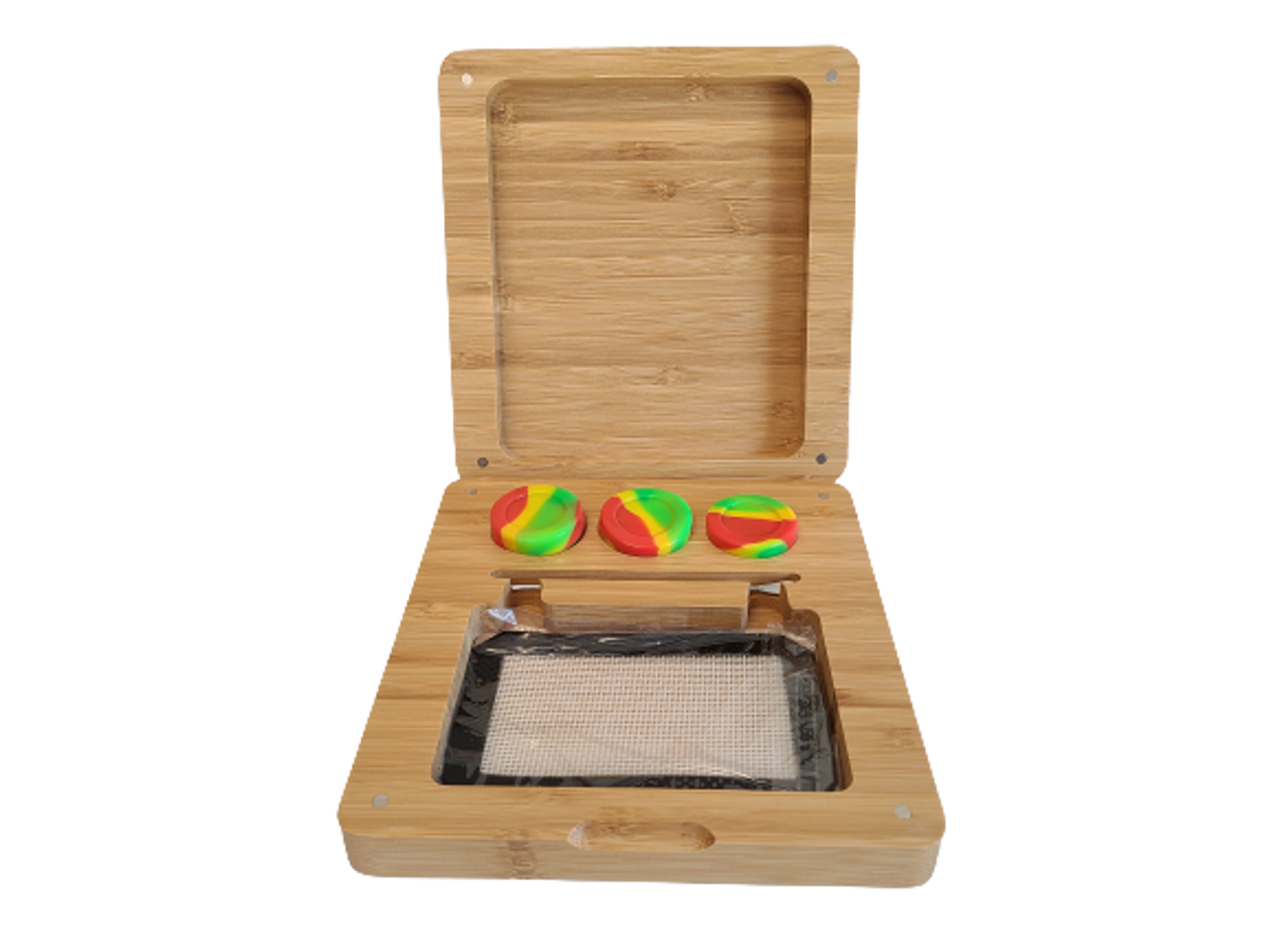 7 inch by 7.5 inch Bamboo Rolling Tray Box Set  with Dab Mat, 3 Wax Containers, Dab Tool and Magnetic Seal
