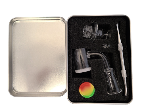 LuvBuds  25MM banger kit comes with 14MM female banger, wax container, vortex carb cap, pearls, and dab tool in a silver Louie Luv Skull tin - up close!