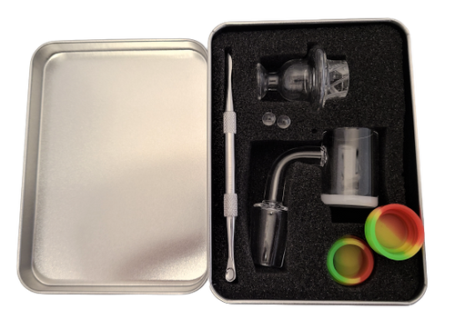 LuvBuds  25MM banger kit comes with 18MM male banger, wax container, vortex carb cap, pearls, and dab tool in a silver Louie Luv Skull tin!