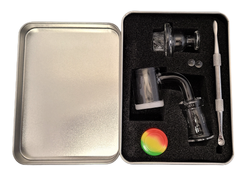 LuvBuds  25MM banger kit comes with 18MM female banger, wax container, vortex carb cap, pearls, and dab tool in a silver Louie Luv Skull tin!