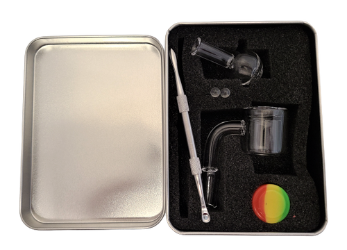 LuvBuds Thermal Banger Kit includes a 14MM male thermal banger, wax container, bubble carb cap, pearls, and dab tool in a silver Louie Luv Skull tin!