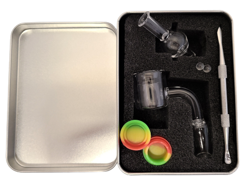 LuvBuds Thermal Banger Kit includes a 18MM male thermal banger, wax container, bubble carb cap, pearls, and dab tool in a silver Louie Luv Skull tin!