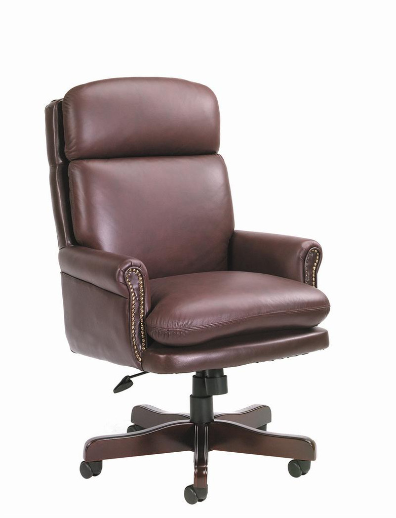 BOSS Furniture HI-BACK BY LEATHER W/MAHOGANY FINISH