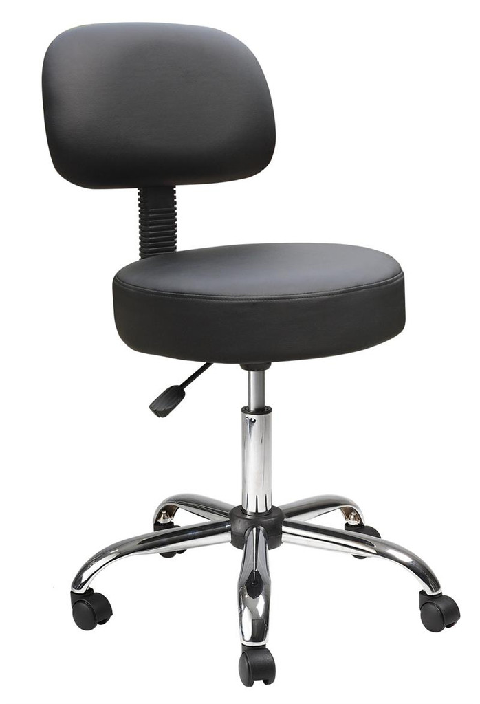 NEW Office Chairs BLACK CARESSOFT MEDICAL STOOL WITH BACK CUSHION