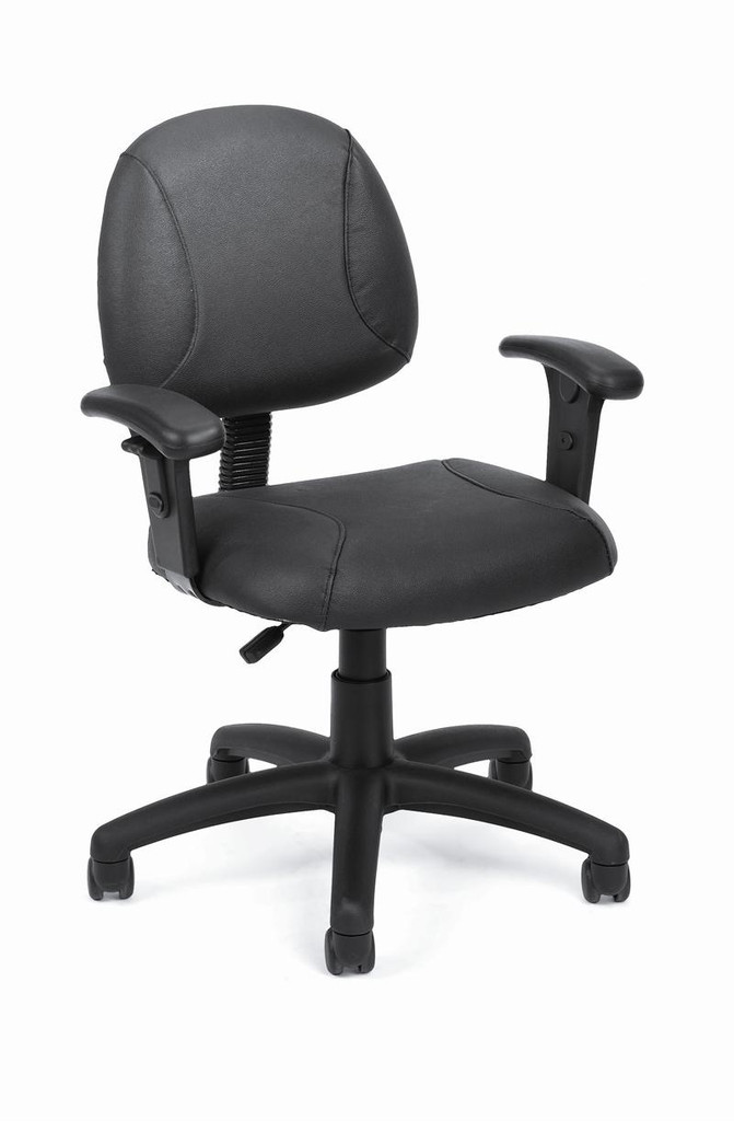Office Chairs BLACK LEATHER PLUS POSTURE CHAIR W/ADJUSTABLE ARMS(TU019)