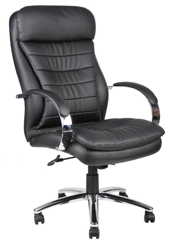 BOSS Furniture HI-BACK CARESSOFT PLUS EXEC CHAIR W/KNEE TILT, CHROME BASE