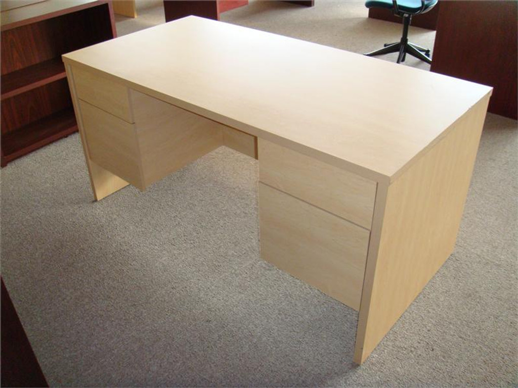 Used 30 Inches Deep By 60 Inches Long Desk Maple,TWO HANGING PEDS