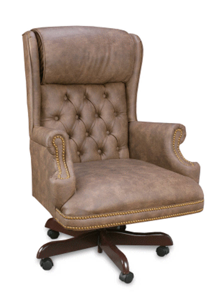 Executive Traditional Brown Vinyl Button Back With Pillow Head Rest