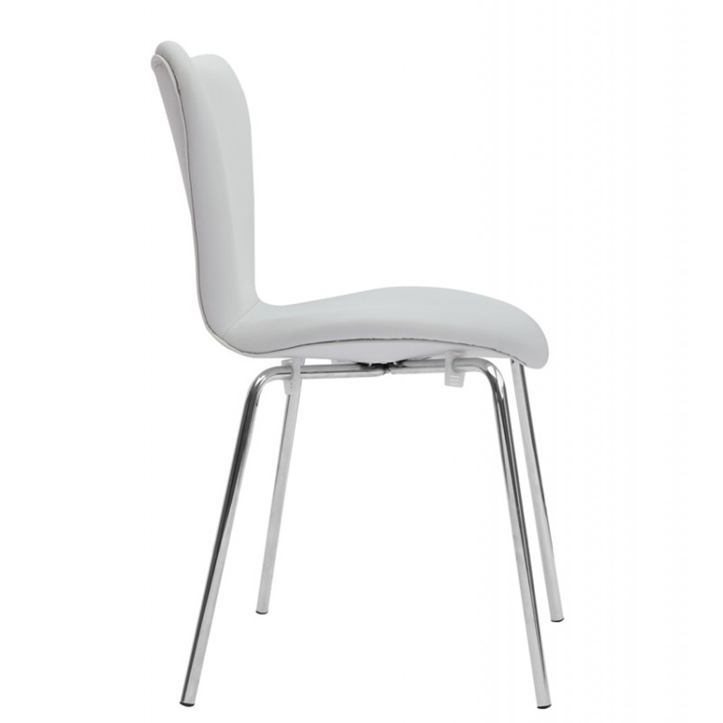 Ekto Visitor White Leather Chair
