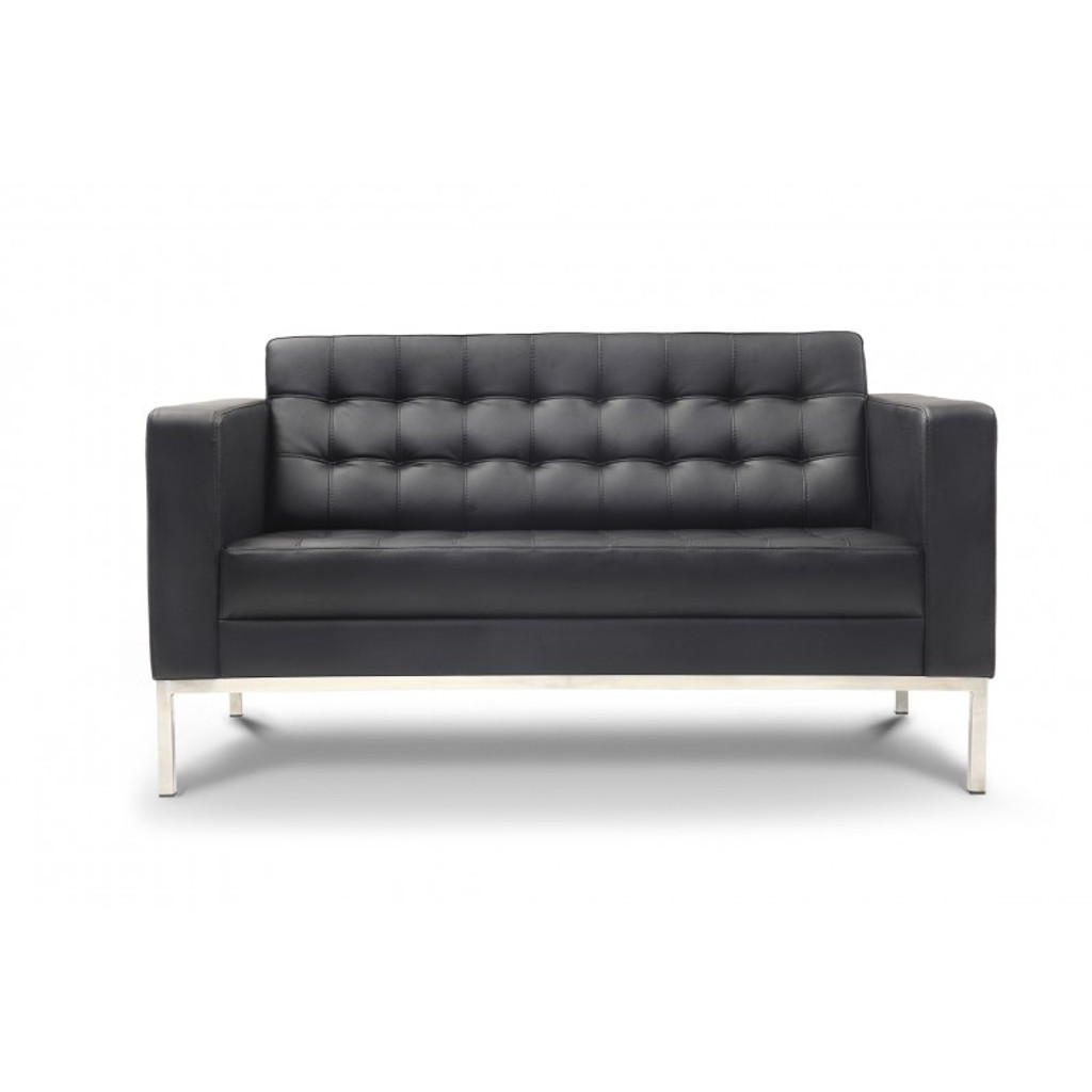 Piazza Black Leather Love Seat