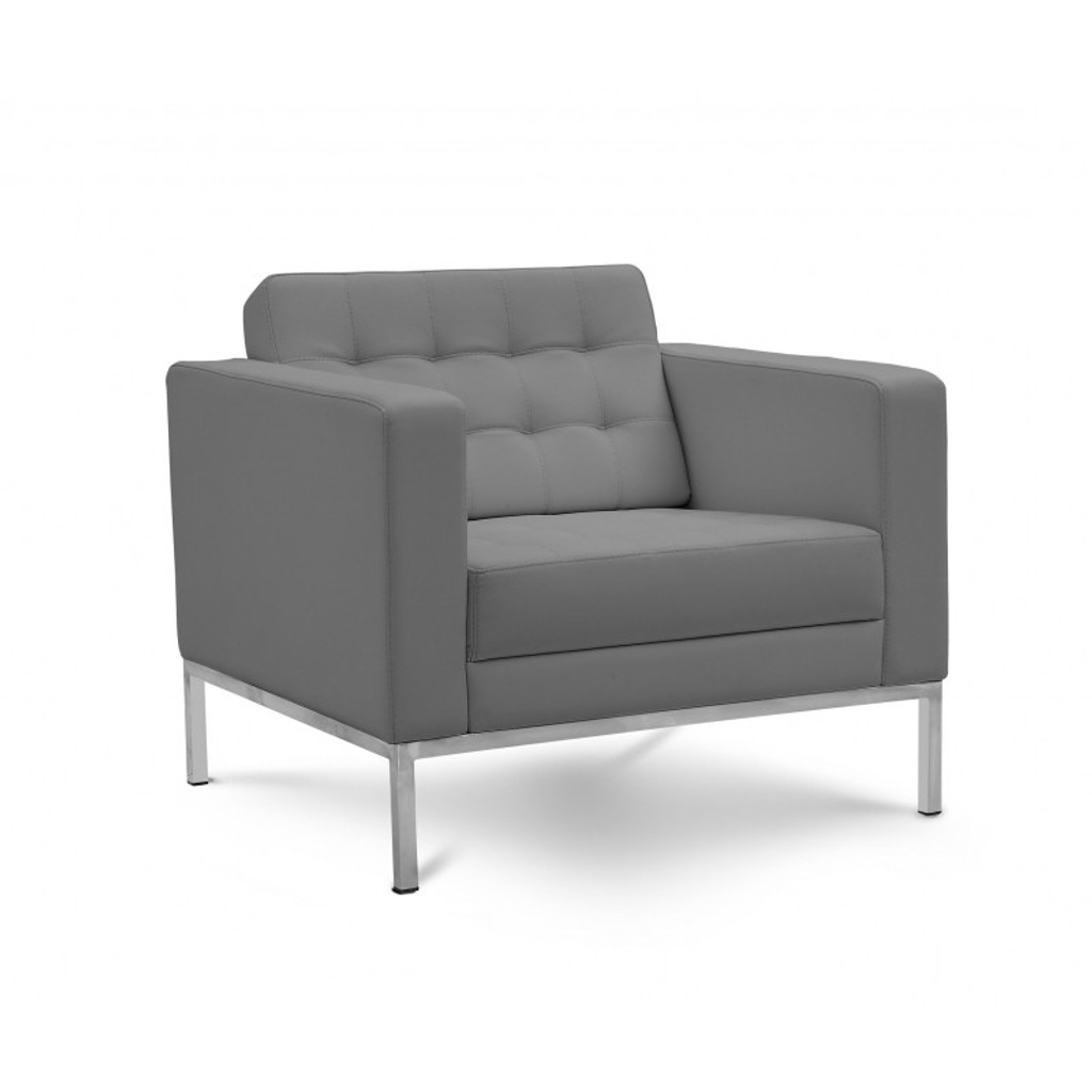 Piazza Grey Leather Lounge Chair