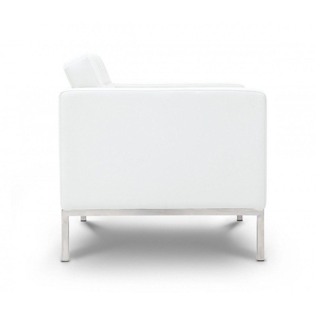 Piazza White Leather Love Seat