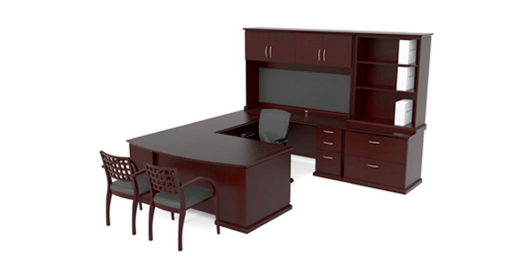 Cherryman Emerald Bowfront U-Desk w/ Hutch